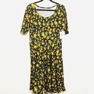 LuLaRoe Amelia XL Black Yellow Floral Dress
